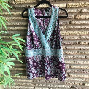 Lane Bryant Purple Floral Sleeveless Tank Top